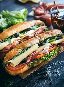 Submarine sandwiches served