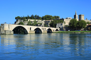 Avignon Bridge with Popes Palace, Pont Saint-Benezet, Provence,