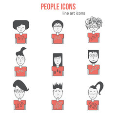 Vector People icons set in linear style. Modern people icons avatars. Hipster people icons. Can be used for banners and sites.