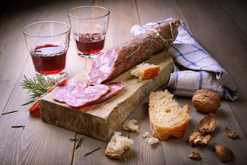 Salami and red wine