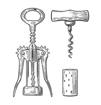 Wing corkscrew, basic corkscrew and cork. Black vintage engraved vector illustration isolated on white background. For label, poster, web.