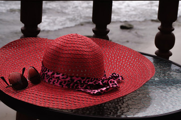Pink Straw Hat and Sunglasses