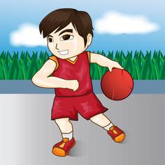vector boy playing basketball