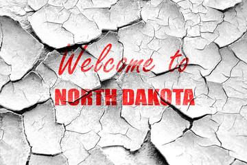 Grunge cracked Welcome to north dakota