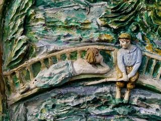 Wandbild eines romanitschen Paares aus Gips