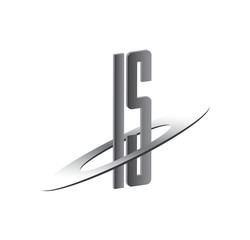 IS initial logo with silver sphere