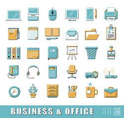 Set of flat line business and office icons. Collection of premium quality web icons. Vector illustration.