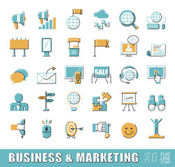 Set of flat line business and marketing icons. Collection of premium quality icons for advertising and communication. Vector illustration.