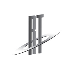 RT initial logo with silver sphere