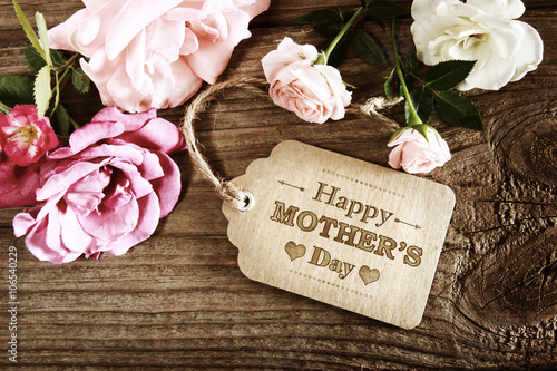 Mothers Day message with small pink roses
