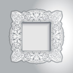 Vintage ornamental white frame, luxury photo frame on wall