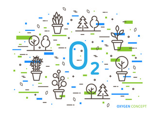 O2 (oxygen) linear vector illustration with house plants. Natural (ecology, ecological) oxygen creative graphic concept. Natural eco oxygen process for science, chemistry, biology.