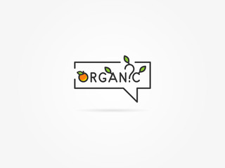 Organic question linear vector illustration on light grey background. Organic with trees and house plants (leaf, leaves, tree, orange, fruit, green) creative graphic concept.