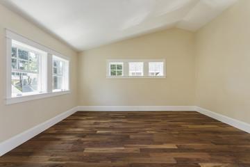 Wooden floor in empty bedroom