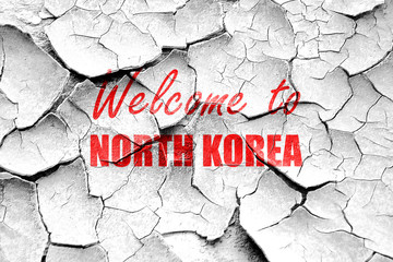 Grunge cracked Welcome to north korea