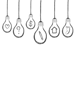 lightbulb with icon inside hand drawn background vector
