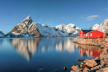 Canvas Prints Blue jeans Reine, Lofoten Islands, Norway