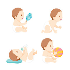 Baby Crawling, Playing And Sucking Baby Bottle, Set, Baby, Infant, Toddler, Crawling, Playing