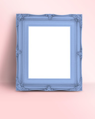 Blank pastel blue Vintage Victorian style picture frame on paste