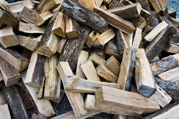 Background of pile of wood