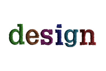 thread embroidery word design isolate on white background