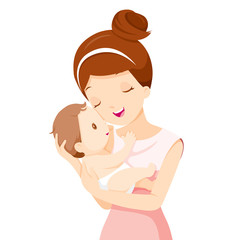 Baby In A Tender Embrace Of Mother, Mother's day, Mother, Baby, Infant, Motherhood, Love, Innocence