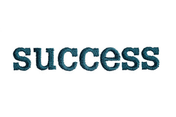 thread embroidery word success isolate on white background