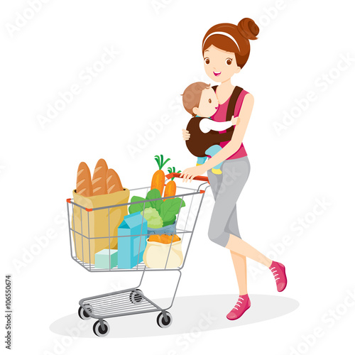 quotmother carries baby and pushing shopping cart mother