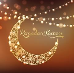 Golden crescent moon on bokeh background