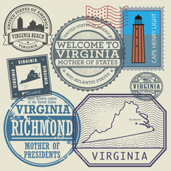 Stamp set with the name and map of Virginia, United States
