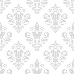 Seamless oriental ornament in the style of baroque. Traditional classic vector pattern. Light silver wallpaper