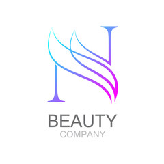 Abstract letter N logo design template with beauty industry and fashion logo.cosmetics business, natural,spa salons. yoga, medicine companies and clinics