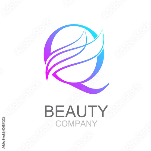 abstract letter q logo design template with beauty industry and