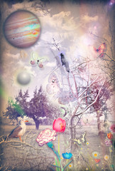Tuinposter Imagination Wonderful countryside with colorful flowers,birds and butterflies