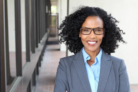 Beautiful African American business woman wearing glasses or bifocals