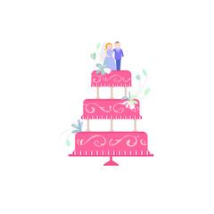 Big Wedding cake flat illustration