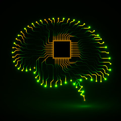 Neon brain. Cpu. Circuit board. Abstract technology background.