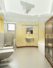 Bathroom in Contemporary style. Bathroom with gray and yellow ti