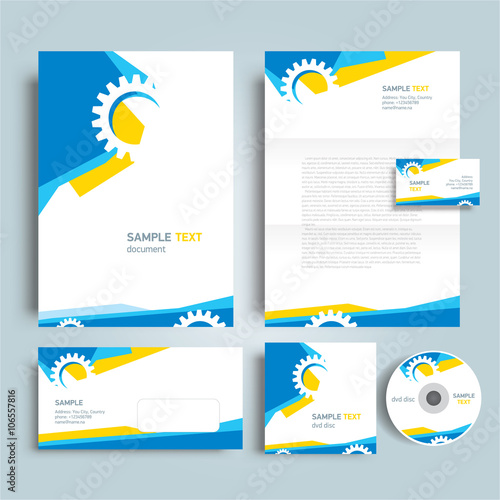 corporate identity template design abstract gear, cmyk profile, Powerpoint templates