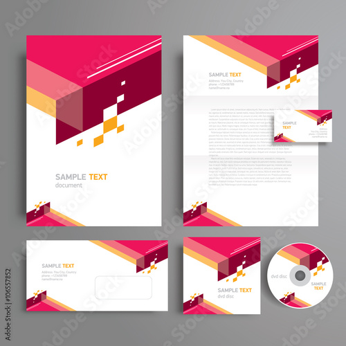 corporate identity template design geometric abstract, cmyk prof, Powerpoint templates