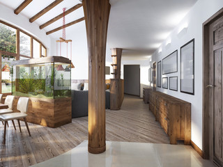 Corridor with a view of the living room with a wooden column in