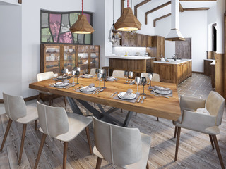 Modern kitchen and dining room in the loft.