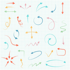 Sketch arrow set. Vector illustration for your business and education design. Hand drawn Elements for design