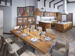 Dining room with large dining table and high ceilings in the lof
