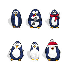 Penguins vector set. Isolated vector collection.