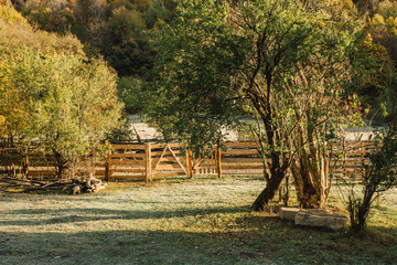 the fence in the mountain, camping in the autumn morning