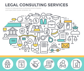 Legal consulting services concept illustration, thin line flat design