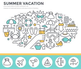 Summer vacation concept illustration, thin line flat design