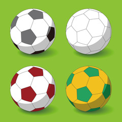 soccer ball on the ground, vector illustration