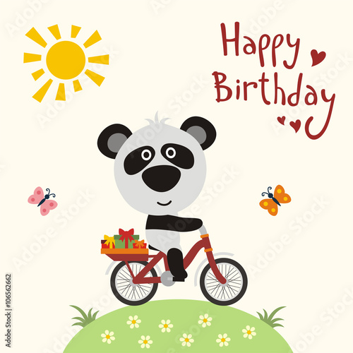 Happy Birthday Funny Panda Bear On Bike Carries Gifts Card
